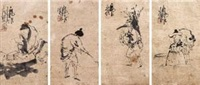 渔樵耕读人物 (四帧) (4 works) by ma wenbing
