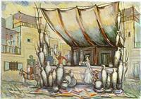 bühnenbild mit töpferwaren by vasili petrovich komardenkov