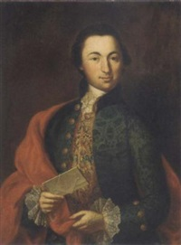 portrait of josephus casparus de jaquemod in a blue brocade coat, gold embroidered waistcoat and white lace shirt, a letter in his left hand by andreas hölzl