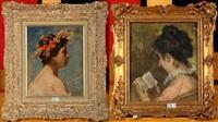 flore (+ jeune fille à la lecture, lrgr; 2 works) by eugene smits