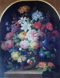 still life of flowers with a tazza of fruit on a ledge by thomas webster