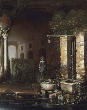 a figure by a well in a grotto with a sarcophagus an arcade beyond by charles cornelisz de hooch