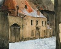 le quartier du patershol sous la neige by jules de bruycker