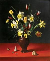 vase de fleurs et coquillages by fernand renard
