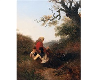 mother and children with dog by a camp fire in wooded landscape by edward robert smythe