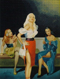 three prostitutes in holding cell by george gross