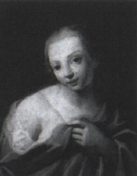 a young girl, half length, en deshabill, by giuseppe angeli