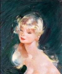 portrait de jeune fille aux cheveux blonds by jean-gabriel domergue