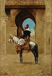 moorse krijger te paard voor een stadspoort (guerrier maure à cheval devant la porte de ville) by f. legua