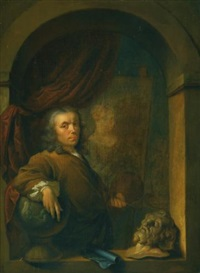 self-portrait of the artist, holding a palette and a brush, standing in a niche by louis de moni