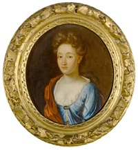 portrait of a lady in a blue dress and a red shawl (+ 3 others; set of 4) by john kerseboom
