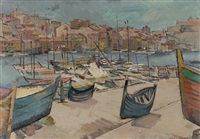 a harbour view, south of france (+ another; 2 works) by henk van gemert