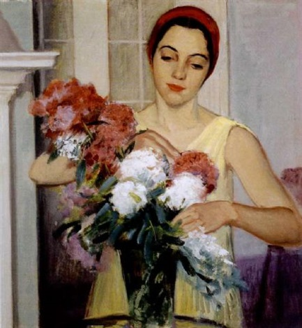 woman arranging flowers by bernhard gutmann