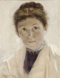 portrait de femme au châle blanc by walter gay