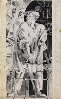the machinist (sketch for a monumental decoration) by nikolai andreevich tyrsa