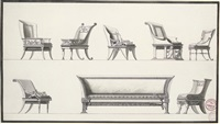 designs for seven elaborate armchairs and a sofa by jean guillaume moitte