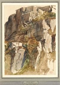 les ruines au-dessus d'un ravin, apt grande combe by paul huet