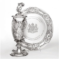 anglo-russian relations: an edwardian presentation cup, cover and sideboard dish (set of 3) by charles sykes