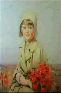 gillian, the artist's daughteraged 7, with poppies by bernard adams