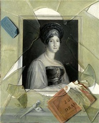 a lithograph portrait of a woman with a playbill behind broken glass by laurent dabos