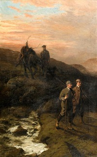 stag hunting (+ going to the hunt; pair) by george earl