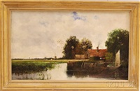 riverside farm with distant windmill by william henry hilliard