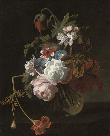 roses chrysanthemums morning glory and other flowers in a glass vase with a butterfly by simon pietersz verelst