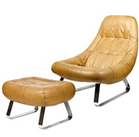 lounge chair and ottoman (from the earth collection; 2 works) by percival lafer