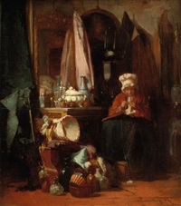 an old lady knitting by alexander hugo bakker korff