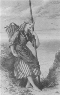 fishergirl on the shore by william maw egley