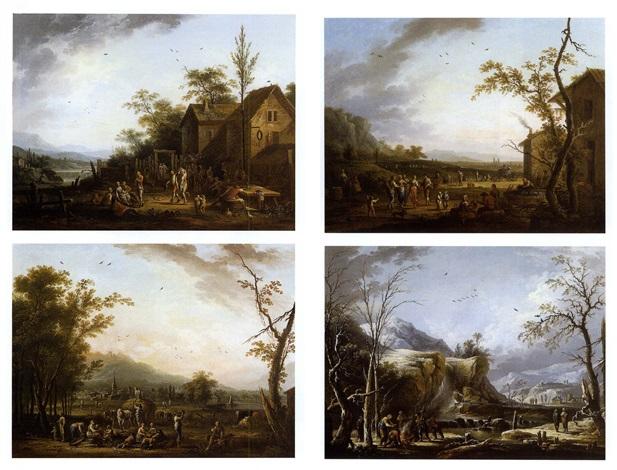 les quatre saisons (set of 4) by jean baptiste charles claudot
