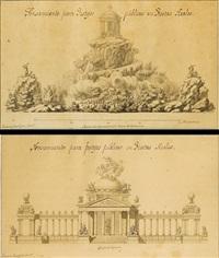 pensamiento para festejos públicos en fiestas reales: -templo de hymeneo (+ antoher, 2 works) by ventura millan rodriguez