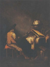a vanitas still life with a seated soldier in an interior by petrus schotanus