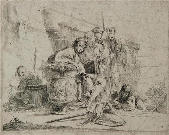 jeune homme assis appuyé sur une urne première planche from varj cappricj by giovanni battista tiepolo
