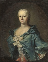 portrait of adrienne lecouvreur in a pink dress with lace and a blue mantle by louis de fontaine