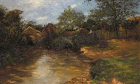 a stream with haystacks and farm buildings beyond by rose j. leigh