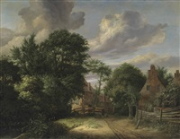 a wooded landscape with man approaching a village, carrying two pails on a yoke by cornelis gerritsz decker