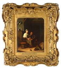 jeune femme à la cuisine avec son enfant by pieter cornelisz van slingeland