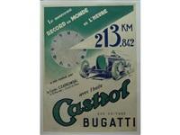 a castrol bugatti world record poster by jean pillod