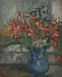 poppies in a blue jug by jean misceslas peské