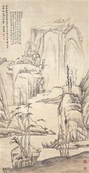 無波居士圖 hong ren qing dynasty mountain retreat of a hermit by hong ren