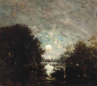 a gondolier in the moonlight by félix ziem