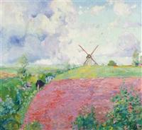 moulin dans un paysage estival by edmond verstraeten