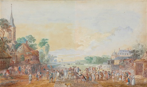 villagers in a town square with a church on the left by louis nicolas van blarenberghe