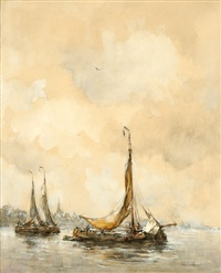 sailing boats in the amsterdam harbor by hobbe smith