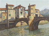 the old bridge at sospel by john william (sir) ashton