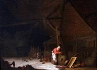 stalinterieur met boerenvrouw by jan miense molenaer