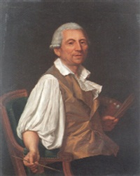 portrait of the artist, holding a palatte and brushes by jean-jacques forty