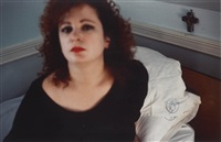 self portrait in the lodge, belmont ma by nan goldin
