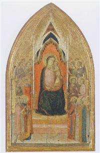the madonna and child enthroned with attending angels and saints by bernardo daddi